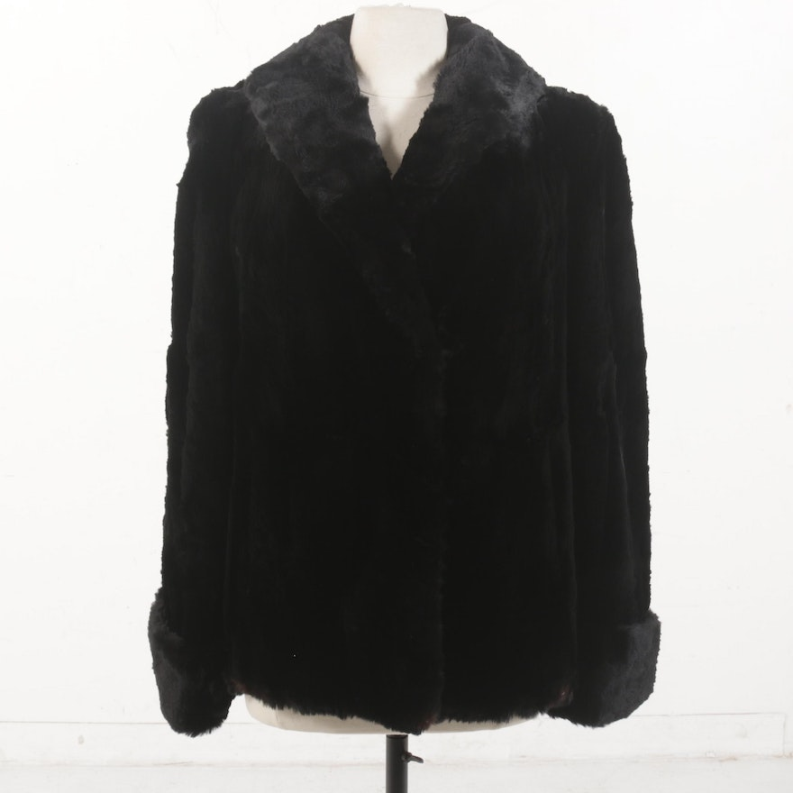 Sheared Rabbit Fur Jacket with Turned Back Cuffs, Vintage