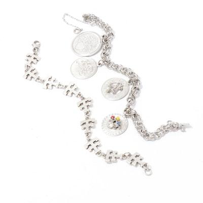 Sterling Silver Charm Bracelet and Link Bracelet