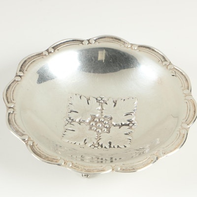 Footed Sterling Silver Bowl with Leaf Motif