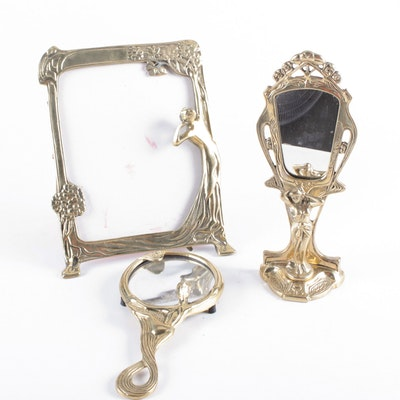 Art Nouveau Brass Finish Mirrors, Early 20th Century