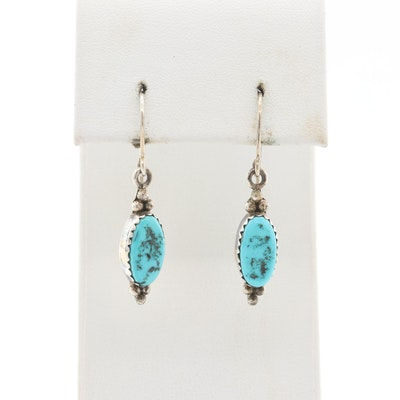 Lester Jackson Navajo Diné Sterling Silver Turquoise Dangle Earrings