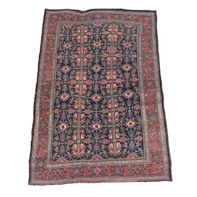 Antique Bijar Carpet with All-Over Design on Deep Blue Field