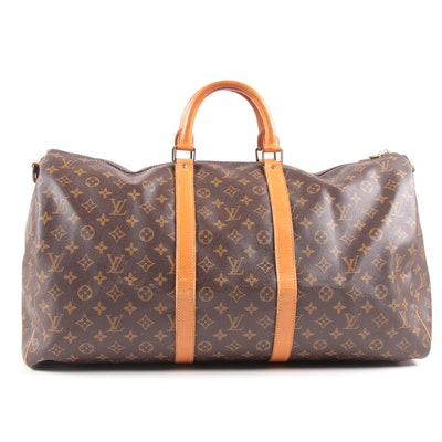 Louis Vuitton Malletier Keepall Bandoulièr 55 in Monogram Canvas and Leather