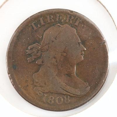 An 1808 Draped Bust Half Cent