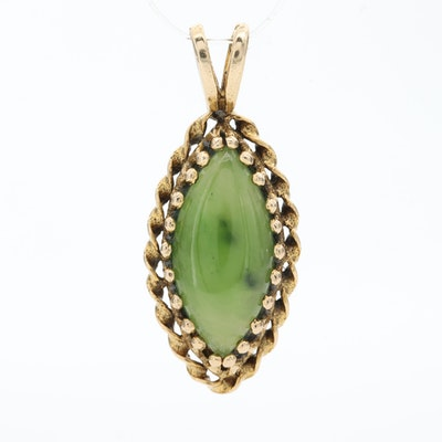 Vintage 14K Yellow Gold Nephrite Pendant