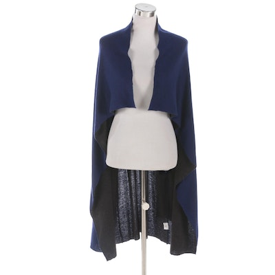 Eileen Fisher Blue and Gray Reversible Open Front Cardigan