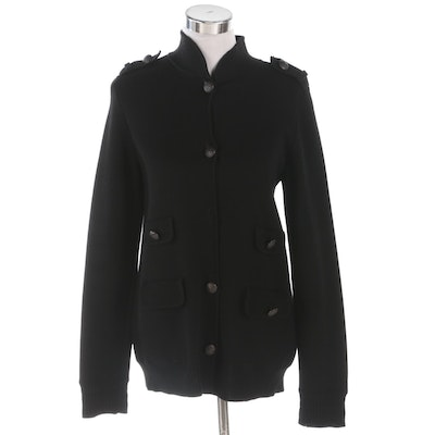 Badgley Mischka Black Wool Knit Sweater Jacket with Epaulets