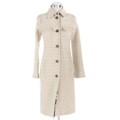 Tuleh Wool and Cotton Blend Button-Front Coat with Silk Print Lining