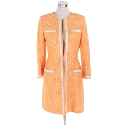 Ron Leal Cotton Blend Knit Jacket in Persimmon and White