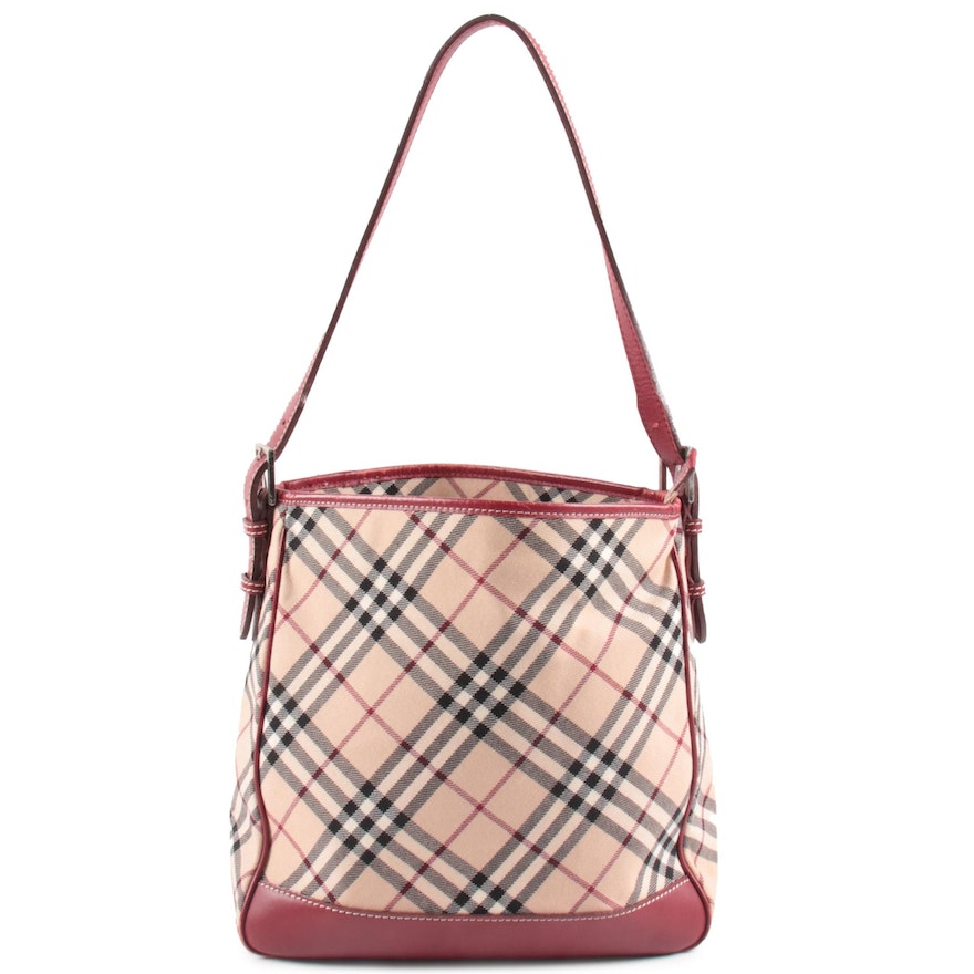 "Burberry London Blue Blue Label Shoulder Bag in ""Nova Check"" Canvas and Leather"
