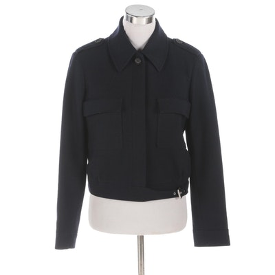 Céline Navy Wool and Cashmere Blend Jacket with Epaulets