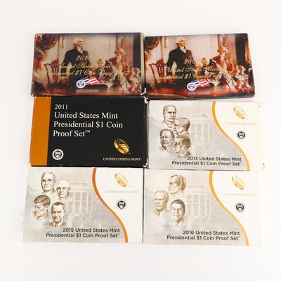 Six U.S. Mint Presidential Dollar Proof Sets, 2007 to 2016