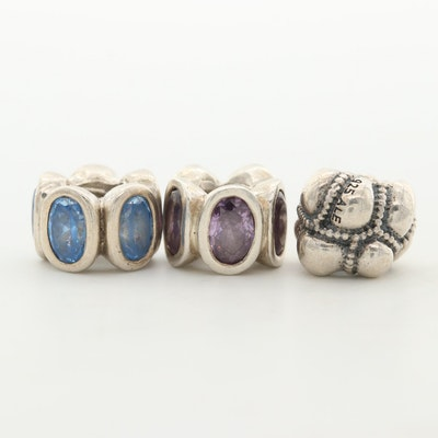 Pandora Sterling Silver, Amethyst and Cubic Zirconia Charms