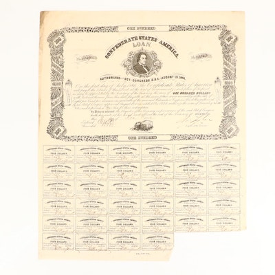 1862 Confederate States of America $100 Bond Certificate with Thirty-Four Coupon