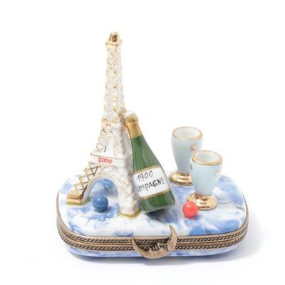 Limoges La Gloriette Porcelain Eiffel Tower Trinket Box