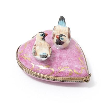 Limoges Porcelain Birds on a Heart Trinket Box