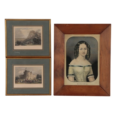 """Nathaniel Currier Hand-colored Lithograph """"Elizabeth"""" and more"""