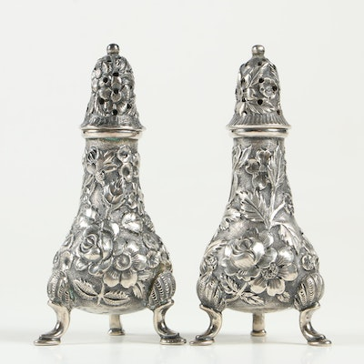 A. G. Schultz & Co. Repoussé Sterling Silver Salt and Pepper Shakers, 1899-1950