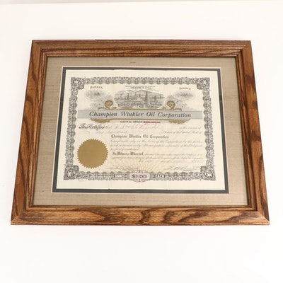 1928 Champion Winkler Oil Corporation Stock Certificate