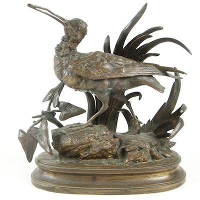 """Henri Emile Adrien Trodoux Bronze Sculpture """"Schlammläufer"""", 19th Century"""
