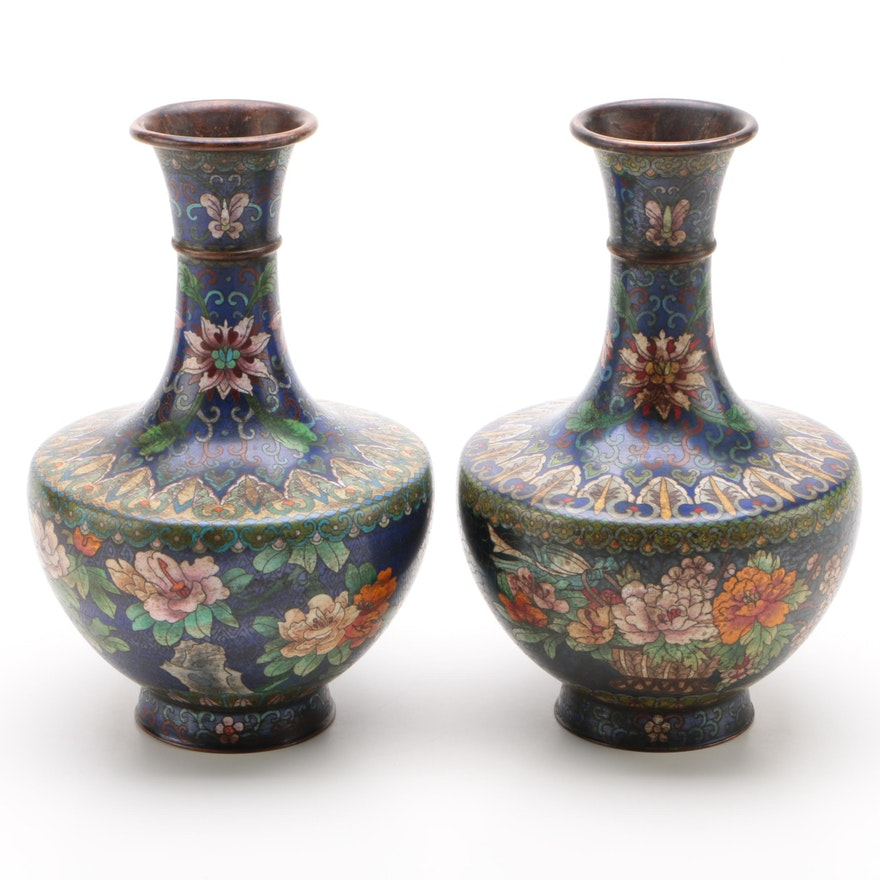 Chinese Cloisonné Enamel Hand-Painted Mantel Vases, Early Republic Period