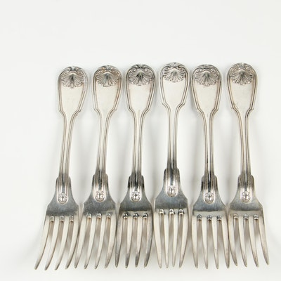 """Christofle """"Vendome"""" Silver Plate Dinner Forks, Late 20th Century"""