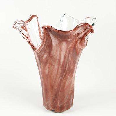 Lavorazione Arte Murano Hand Blown Art Glass Vase