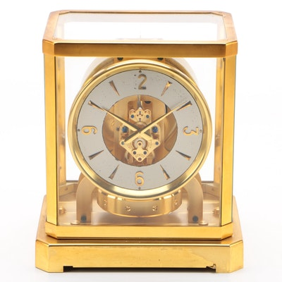 Fine Brass Perpetual Motion Swiss Jaeger LeCoultre Atmos Clock, Mid-Century