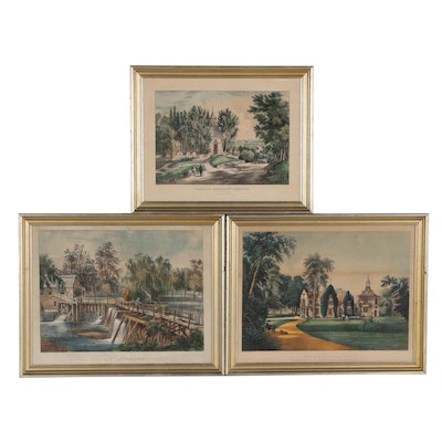 19th Century Currier & Ives Hand-Colored Lithographs