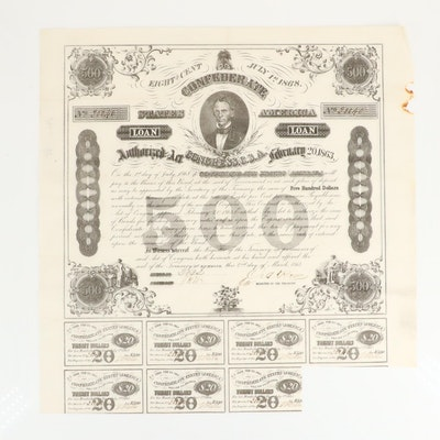 1863 Confederate States of America $500 Bond Certificate with Seven Coupons