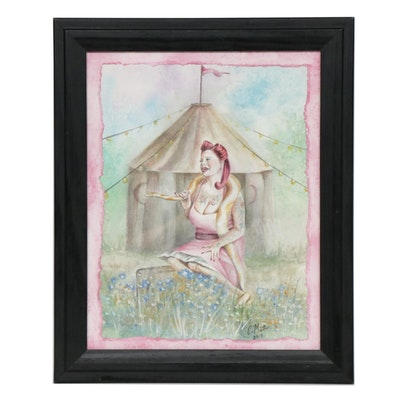 "Christina Mather Watercolor Painting ""Painted Lady"""