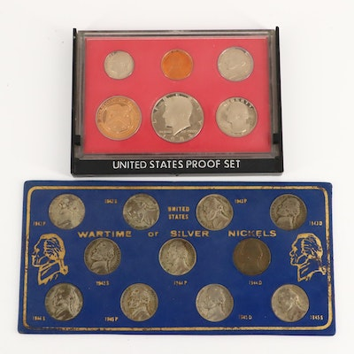 A WWII Jefferson Silver Nickel Set and a U.S. Mint 1982 Proof Set