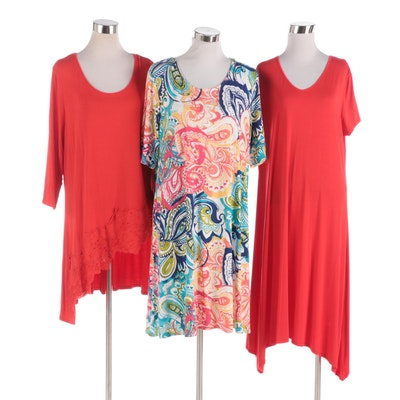 Chico's Red and Paisley Tunic Dresses