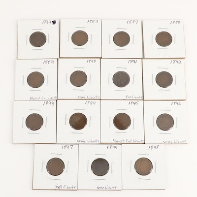 Fifteen Indian Head Cents, 1864 to 1899