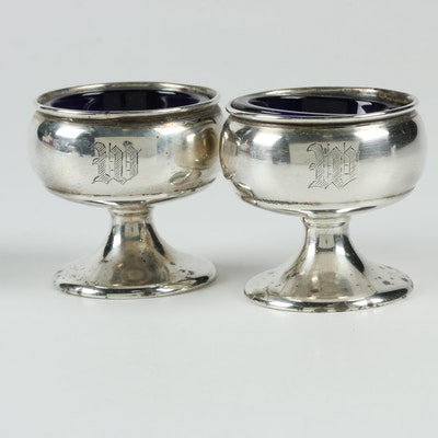Elgin Silversmith Co. Sterling Salt Cellars with Blue Glass Inserts, Mid-Century