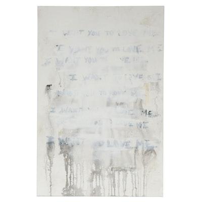 """Nadia Lynch Mixed Media Painting """"Love Me""""."""
