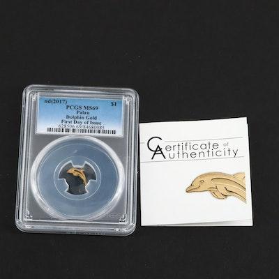 PCGS Graded MS69 2017 Palau Fine Gold $1 Dolphin