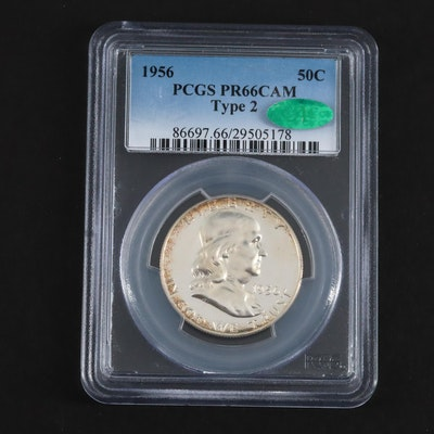 PCGS Graded PR66CAM 1956 Type 2 Franklin Silver Half Dollar, with CAC Sticker