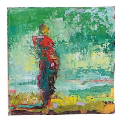 Elle Raines Abstract Acrylic Painting of Figure in Landscape