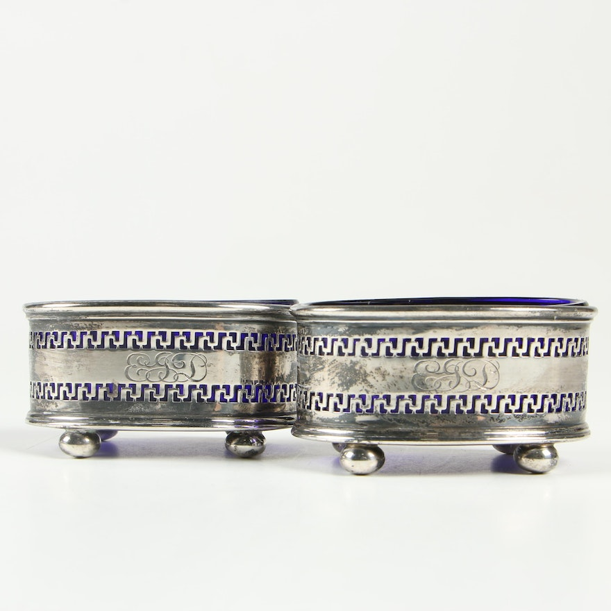 Gorham Sterling Salt Cellars with Blue Glass Inserts, Early/Mid 20th Century