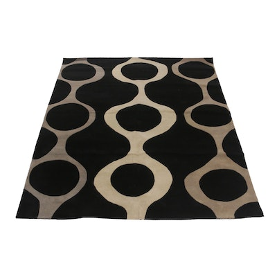 Modernist Indian Tufted and Sculpted Wool Area Rug