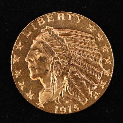 A 1915 Indian Head $5 Gold Half Eagle Coin