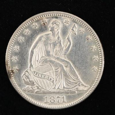 An 1871 Liberty Seated Silver Half Dollar
