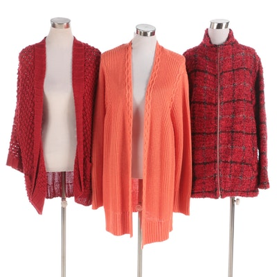 Chico's Brand Knit Jacket and Open Front Cardigan Sweaters