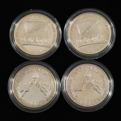 Four Modern Commemorative Proof Silver Dollars