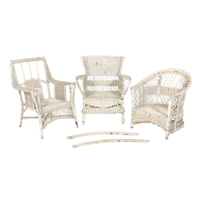 Vintage White Wicker Distressed Patio Chairs