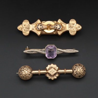 Victorian Brooches and Vintage Sterling Silver Amethyst Brooch