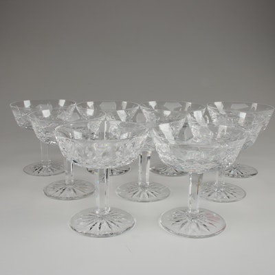 """Waterford Crystal """"Lismore"""" Champagne Coupes, Late 20th Century"""