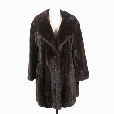 I. Magnin Mahogany Mink Fur Stroller Coat