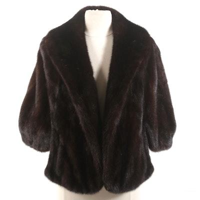 Samuel Rifken Mahogany Mink Fur Stole with Fully Furred Shawl Collar